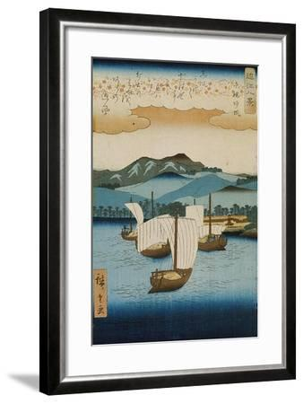 Returning Sails at Yabase from the Series Eight Views of Omi, c.1855-8-Ando or Utagawa Hiroshige-Framed Giclee Print