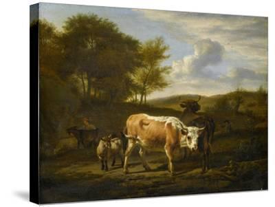 Mountainous Landscape with Cows, 1663-Adriaen van de Velde-Stretched Canvas Print