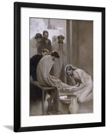 Jesus Washing the Feet of his Disciples, 1898-Albert Gustaf Aristides Edelfelt-Framed Giclee Print