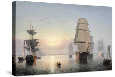 Boston Harbor, Sunset, 1850-55-Fitz Henry Lane-Stretched Canvas Print