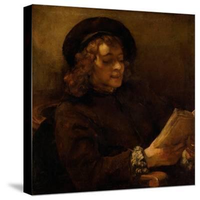 Titus reading, 1656-7-Rembrandt van Rijn-Stretched Canvas Print