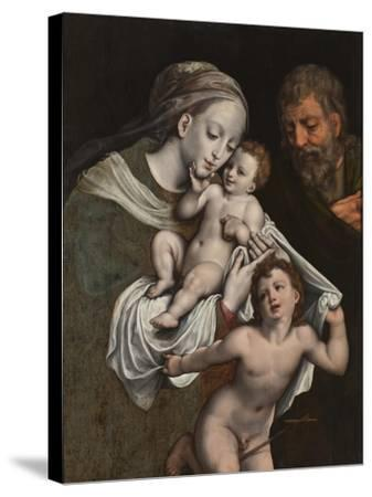 The Holy Family with the Infant St John-Cornelis van Cleve-Stretched Canvas Print