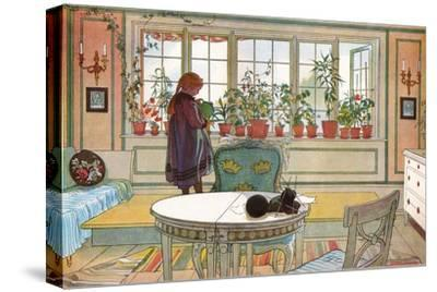 Flowers on the Windowsill, From 'A Home' series, c.1895-Carl Larsson-Stretched Canvas Print
