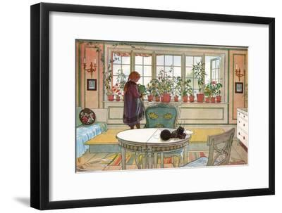 Flowers on the Windowsill, From 'A Home' series, c.1895-Carl Larsson-Framed Giclee Print