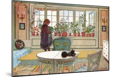 Flowers on the Windowsill, From 'A Home' series, c.1895-Carl Larsson-Mounted Giclee Print