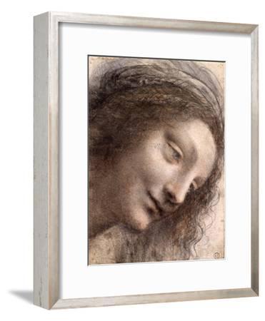 Head of Virgin, 1508-1512-Leonardo Da Vinci-Framed Premium Giclee Print