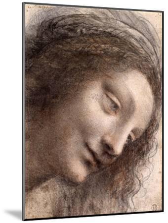 Head of Virgin, 1508-1512-Leonardo Da Vinci-Mounted Premium Giclee Print