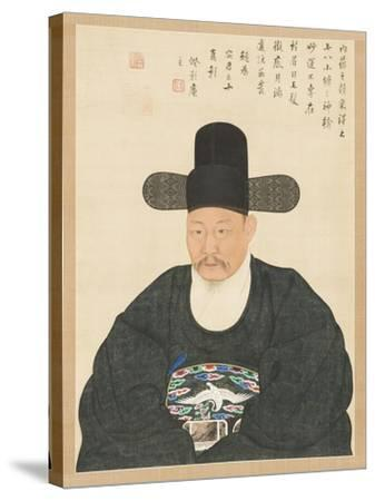 Portrait of Scholar-Official Ahn in His Fifties, 19th century- Yi Chae-gwan-Stretched Canvas Print