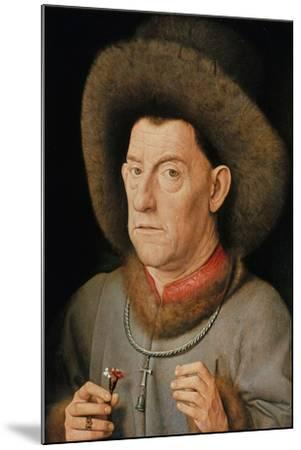 Portrait of a Man with Carnation and the Order of Saint Anthony-Jan van Eyck-Mounted Giclee Print