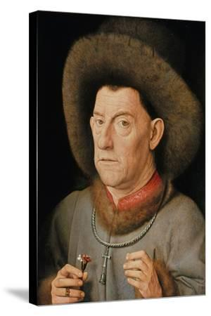 Portrait of a Man with Carnation and the Order of Saint Anthony-Jan van Eyck-Stretched Canvas Print