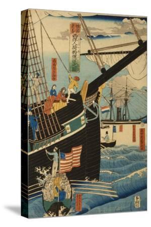 Western Traders at Yokohama Transporting Cargo and Passengers, 1861-Utagawa Sadahide-Stretched Canvas Print