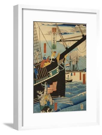 Western Traders at Yokohama Transporting Cargo and Passengers, 1861-Utagawa Sadahide-Framed Giclee Print