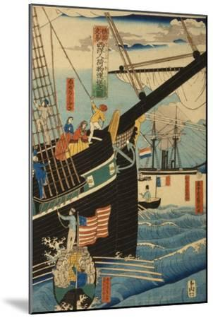 Western Traders at Yokohama Transporting Cargo and Passengers, 1861-Utagawa Sadahide-Mounted Giclee Print