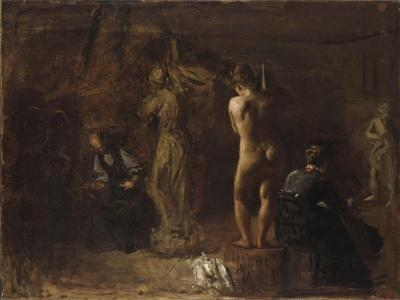William Rush Carving His Allegorical Figure of the Schuylkill River, 1876-Thomas Cowperthwait Eakins-Framed Giclee Print