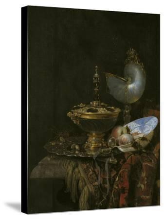 Magnificent Still Life With Holbein Bowl, Nautilus And Glass Cup And Fruit Bowl, 1678-Willem Kalf-Stretched Canvas Print