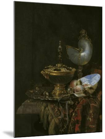Magnificent Still Life With Holbein Bowl, Nautilus And Glass Cup And Fruit Bowl, 1678-Willem Kalf-Mounted Giclee Print