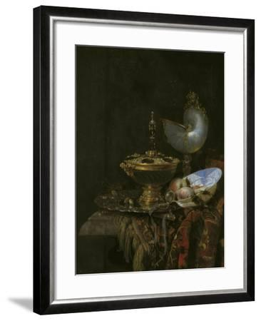 Magnificent Still Life With Holbein Bowl, Nautilus And Glass Cup And Fruit Bowl, 1678-Willem Kalf-Framed Giclee Print