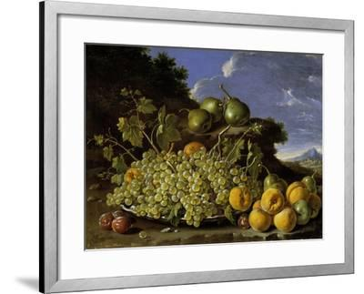 Still Life With Plate Of Grapes, Peaches, Pears And Plums In A Landscape, c.1771-Luis Egidio Melendez-Framed Giclee Print