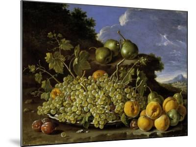 Still Life With Plate Of Grapes, Peaches, Pears And Plums In A Landscape, c.1771-Luis Egidio Melendez-Mounted Giclee Print