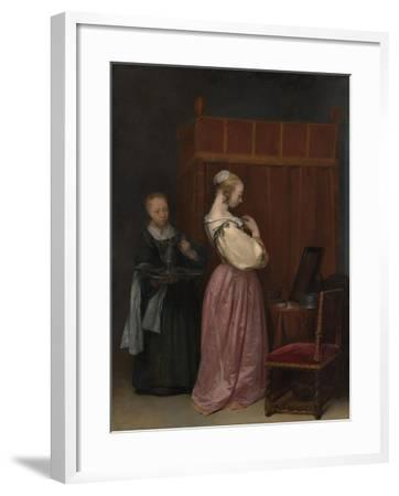 A Young Woman at her Toilet with a maid, c.1650-51-Gerard ter Borch or Terborch-Framed Giclee Print