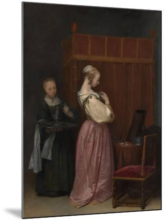A Young Woman at her Toilet with a maid, c.1650-51-Gerard ter Borch or Terborch-Mounted Giclee Print