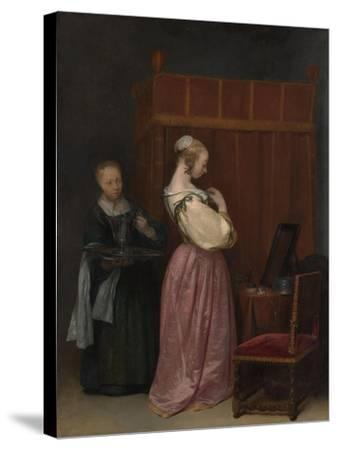 A Young Woman at her Toilet with a maid, c.1650-51-Gerard ter Borch or Terborch-Stretched Canvas Print