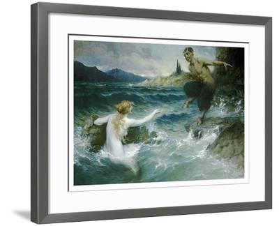 A Mermaid Tempting A Satyr Into The Water-Ferdinand Leeke-Framed Art Print