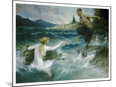 A Mermaid Tempting A Satyr Into The Water-Ferdinand Leeke-Mounted Art Print