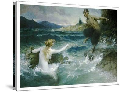 A Mermaid Tempting A Satyr Into The Water-Ferdinand Leeke-Stretched Canvas Print