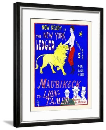 Now Ready In The New York Ledger, Maubikeck, The Lion-Tamer-G.F. Scotson-Clark-Framed Art Print