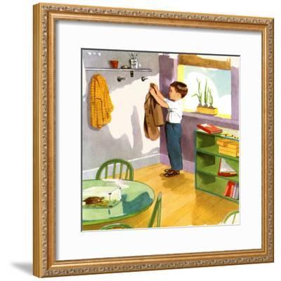 Hanging Up The Coat-Imogene M. McPherson?-Framed Art Print