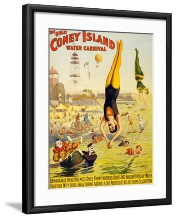 The Great Coney Island Water Carnival,--Framed Art Print