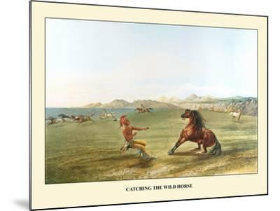 Catching The Wild Horse-George Catlin-Mounted Art Print