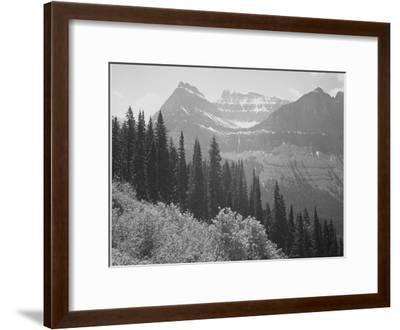 "Trees And Bushes In Foreground Mountains In Bkgd ""In Glacier National Park"" Montana. 1933-1942-Ansel Adams-Framed Art Print"