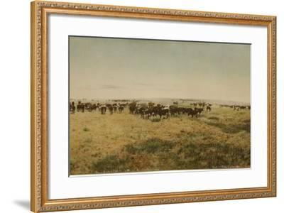 Round-Up At Work Cutting Big Dry Montana- Huffman-Framed Art Print