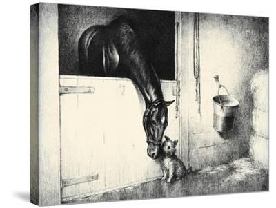 Thoroughbreds; And Their Mascots-C.W. Anderson-Stretched Canvas Print