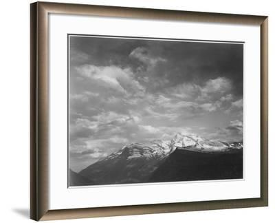 "Dark Foreground And Clouds Mountains Highlighted ""Heaven's Peak"" Glacier NP Montana. 1933-1942-Ansel Adams-Framed Art Print"