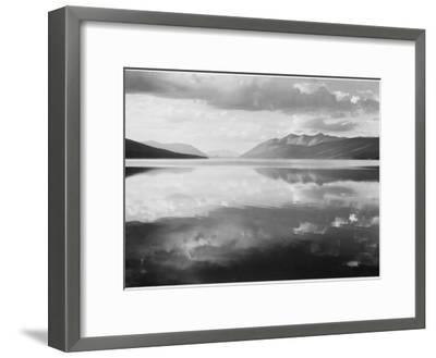 "Lake And Mountains ""McDonald Lake Glacier National Park"" Montana. 1933-1942-Ansel Adams-Framed Art Print"