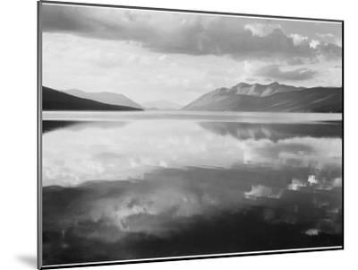 "Lake And Mountains ""McDonald Lake Glacier National Park"" Montana. 1933-1942-Ansel Adams-Mounted Art Print"