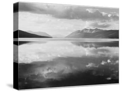 "Lake And Mountains ""McDonald Lake Glacier National Park"" Montana. 1933-1942-Ansel Adams-Stretched Canvas Print"