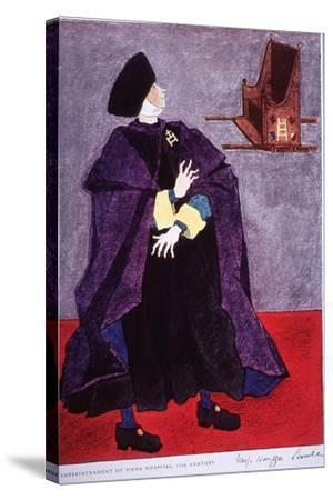 Fifteenth Century Costume Of The Superintendent Of Siena Hospital, Italy-Warja Honegger-Lavater-Stretched Canvas Print
