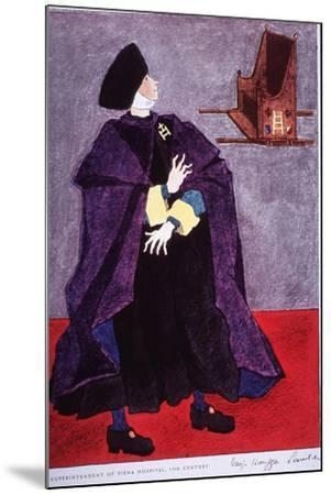 Fifteenth Century Costume Of The Superintendent Of Siena Hospital, Italy-Warja Honegger-Lavater-Mounted Art Print