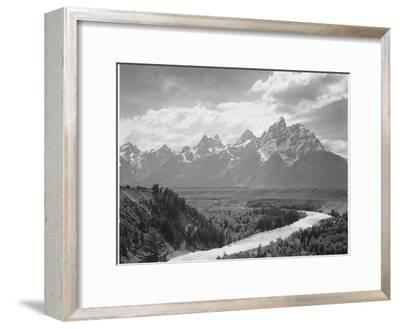 View From River Valley Towards Snow Covered Mts River In Fgnd, Grand Teton NP Wyoming 1933-1942-Ansel Adams-Framed Art Print