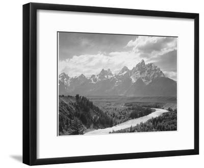 View From River Valley Towards Snow Covered Mts River In Fgnd, Grand Teton NP Wyoming 1933-1942-Ansel Adams-Framed Premium Giclee Print
