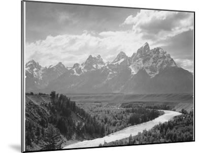 View From River Valley Towards Snow Covered Mts River In Fgnd, Grand Teton NP Wyoming 1933-1942-Ansel Adams-Mounted Premium Giclee Print