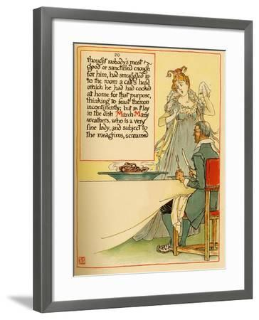 Lady Serves A Calves Head Which She Had Cooked At Home-Walter Crane-Framed Art Print
