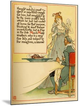 Lady Serves A Calves Head Which She Had Cooked At Home-Walter Crane-Mounted Art Print