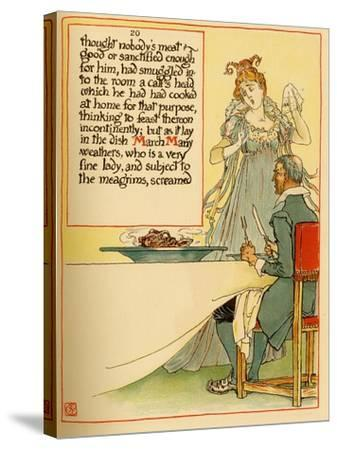 Lady Serves A Calves Head Which She Had Cooked At Home-Walter Crane-Stretched Canvas Print