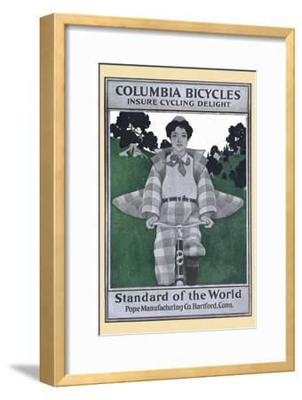 Columbia Bicycles Insure Cycling Delight, Standard Of World, Pope Manufacturing Co. Hartford, Conn.-Maxfield Parrish-Framed Art Print