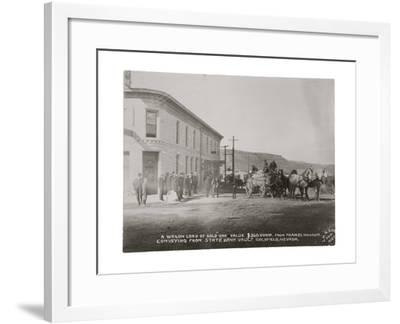 Goldfield, Nevada Armed Guards With Wagon Of Gold Ore-P.E. Larson-Framed Art Print